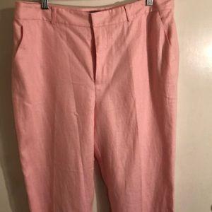 NWT Lauren 100% pink linen pants, size 12.